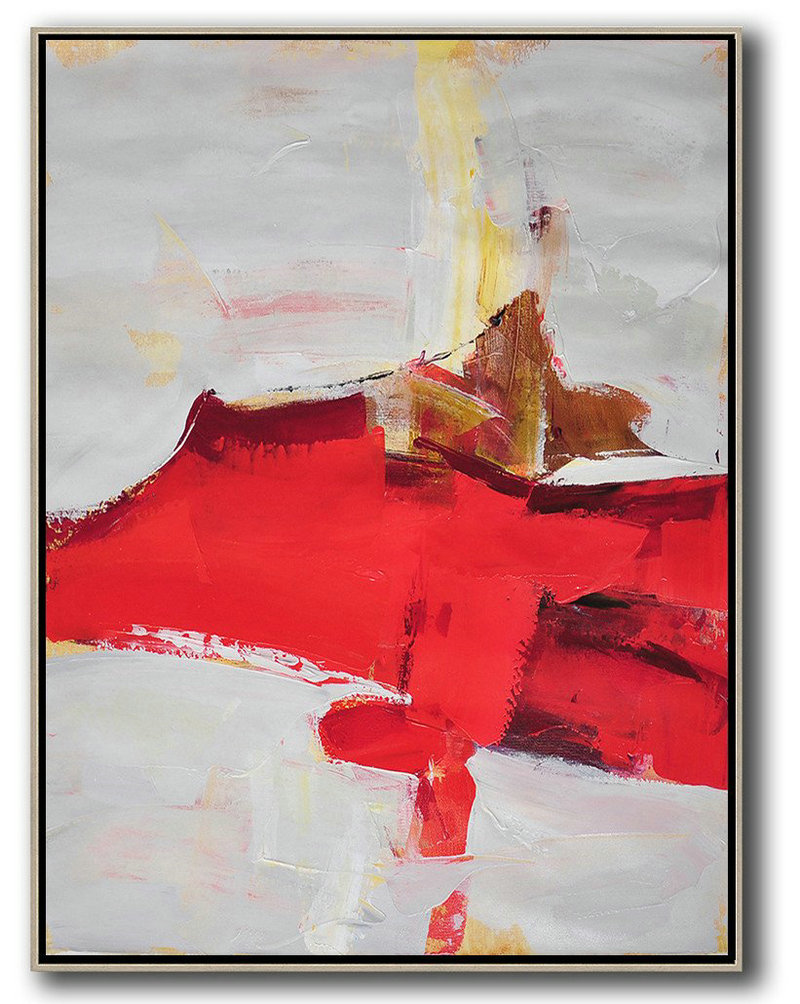 Vertical Palette Knife Contemporary Art,Abstract Oil Painting,Grey,Red,Brown