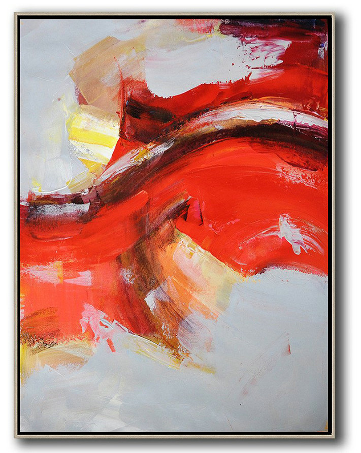 Vertical Palette Knife Contemporary Art,Contemporary Art Canvas Painting,Grey,Red,Yellow