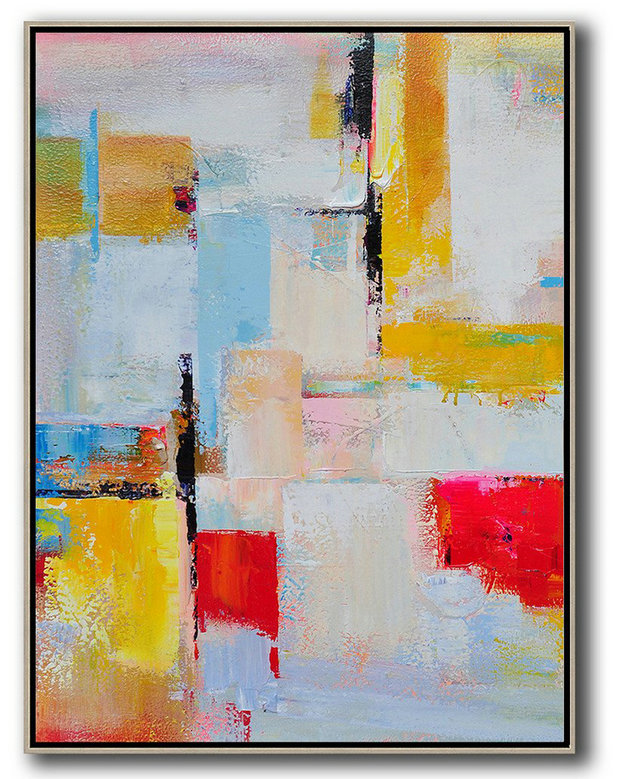Vertical Palette Knife Contemporary Art,Colorful Wall Art,Pink,Red,Yellow,Grey,Sky Blue