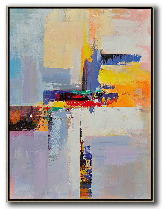 Vertical Palette Knife Contemporary Art,Original Art Acrylic Painting,Yellow,White,Red,Purple