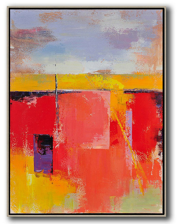 Vertical Palette Knife Contemporary Art,Modern Paintings,Purple,Grey,Yellow,Red