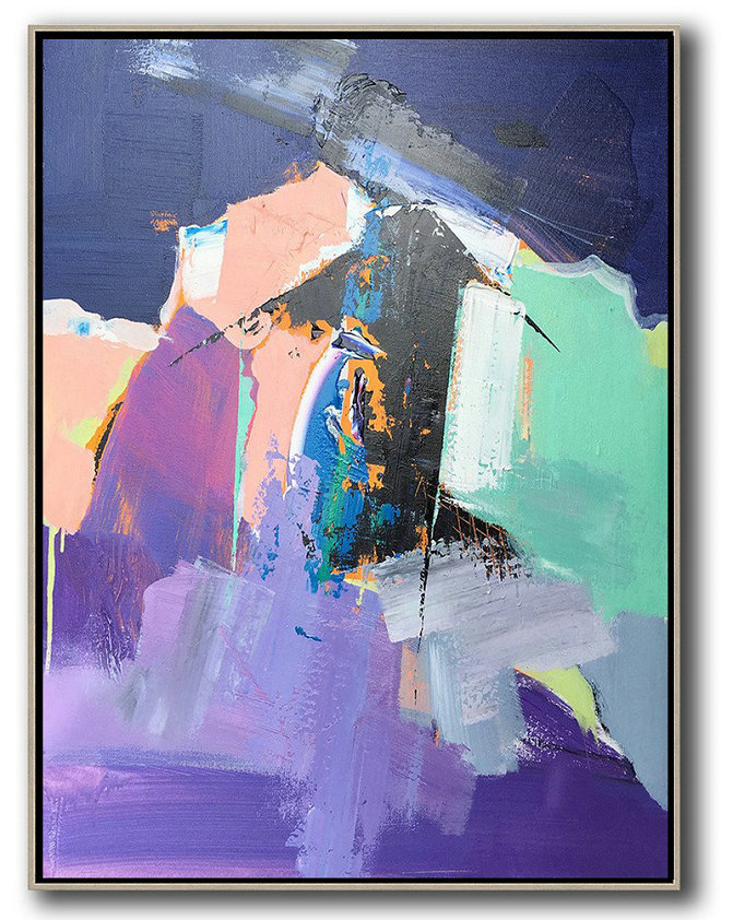 Vertical Palette Knife Contemporary Art,Canvas Wall Art,Purple,Pink,Black,Lake Blue,Dark Blue