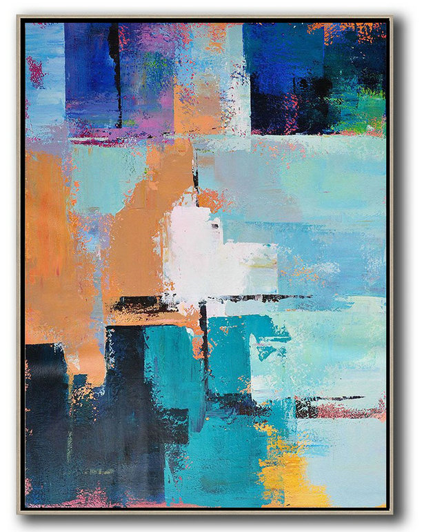 Vertical Palette Knife Contemporary Art,Modern Art,White,Earthy Yellow,Blue,Black,Lake Blue - Click Image to Close