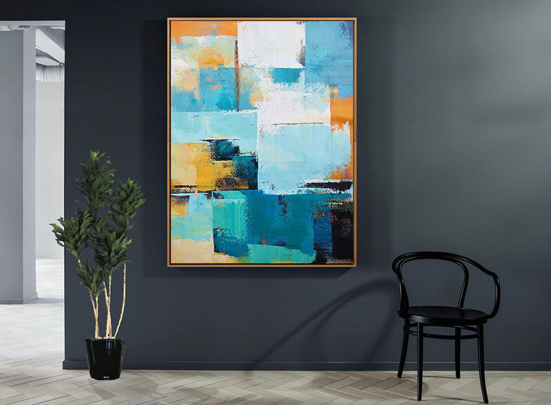 Vertical Palette Knife Contemporary Art,Large Abstract Wall Art,White,Blue,Orange,Yellow