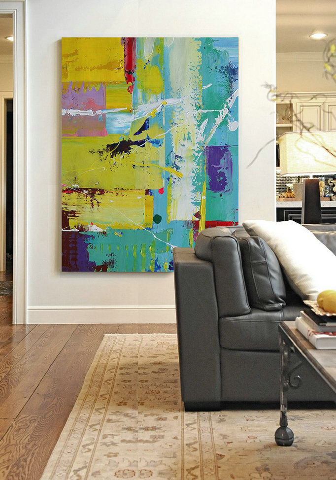 Vertical Palette Knife Contemporary Art,Modern Canvas Art,Sky Blue,Yellow,Purple,Red