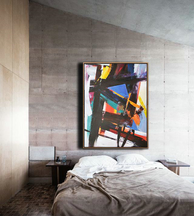 Vertical Palette Knife Contemporary Art,Acrylic Painting On Canvas,Black,Blue,Orange,Red