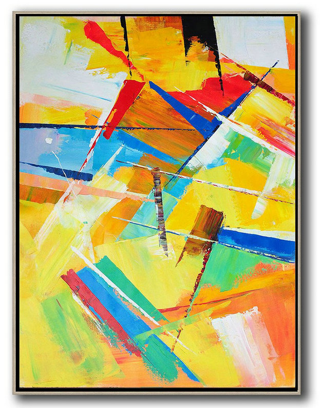 Vertical Palette Knife Contemporary Art,Large Abstract Wall Art,Yellow,Red,Blue,White