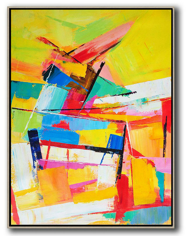 Vertical Palette Knife Contemporary Art,Modern Canvas Art,Yellow,Red,Blue,White