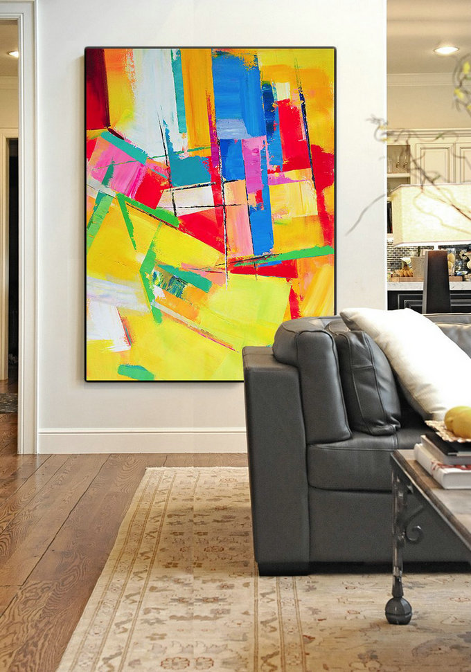 Vertical Palette Knife Contemporary Art,Canvas Paintings For Sale,Yellow,Red,Blue,Purple