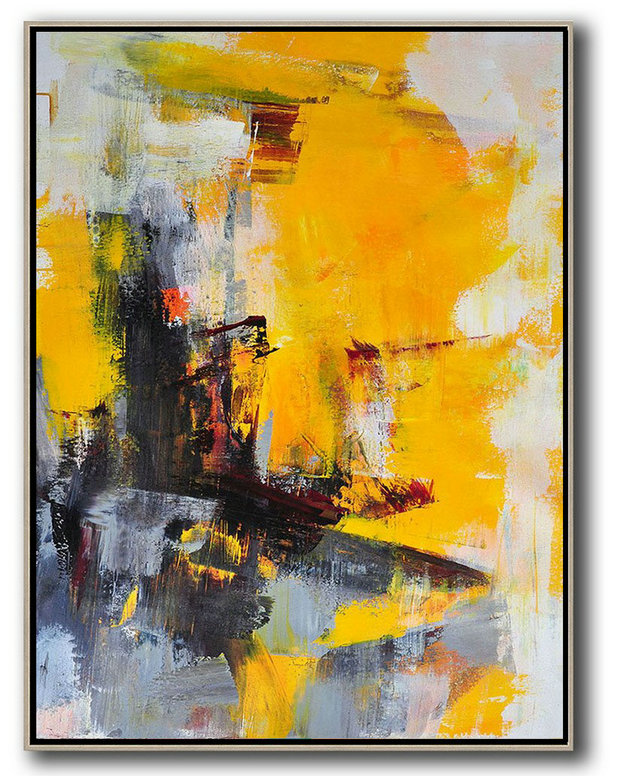 Vertical Palette Knife Contemporary Art,Pop Art Canvas,Red,Brown,Grey,White