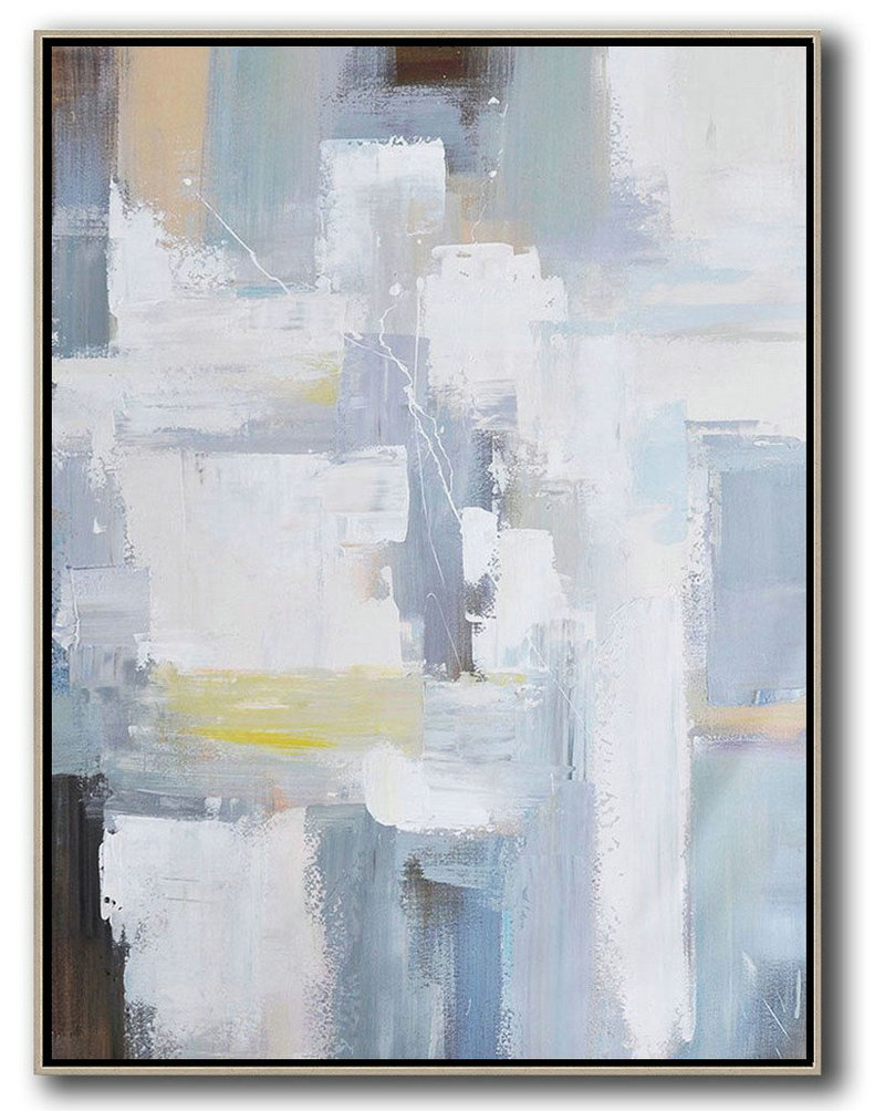 Vertical Palette Knife Contemporary Art,Large Living Room Decor,White,Grey,Brown,Yellow