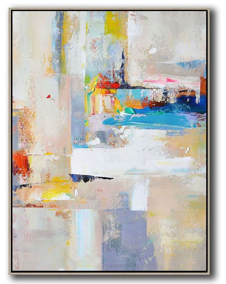 Vertical Palette Knife Contemporary Art,Canvas Paintings For Sale,Beige,White,Blue,Red,Yellow,Pink