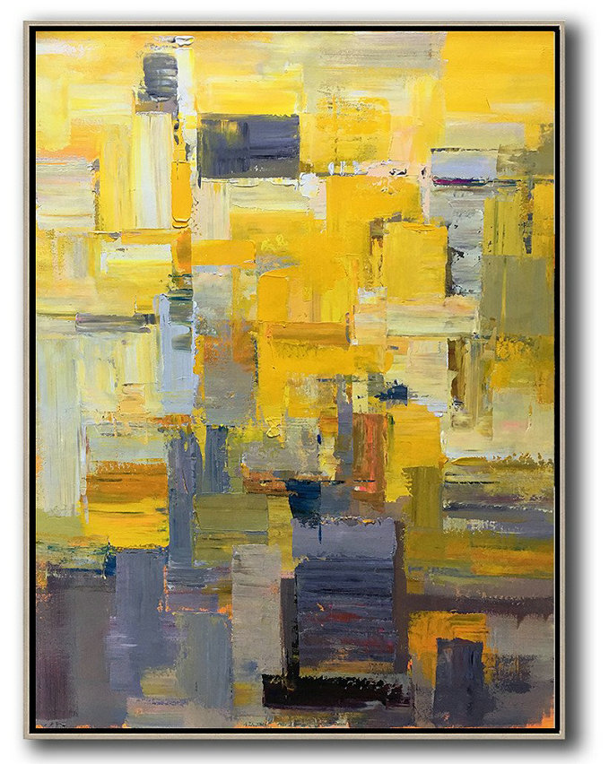 Vertical Palette Knife Contemporary Art,Huge Abstract Canvas Art,Yellow,Brown,Taupe,Purple,Beige