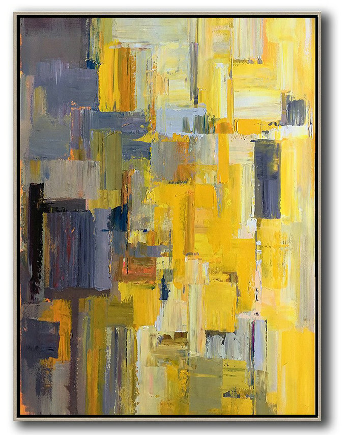 Vertical Palette Knife Contemporary Art,Big Painting,Yellow,Purple,Beige,Brown,Taupe