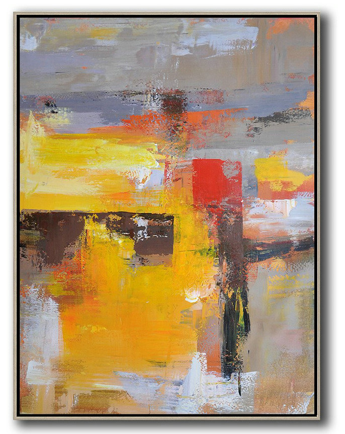 Vertical Palette Knife Contemporary Art,Abstract Painting On Canvas,Yellow,Red,Purple,Grey