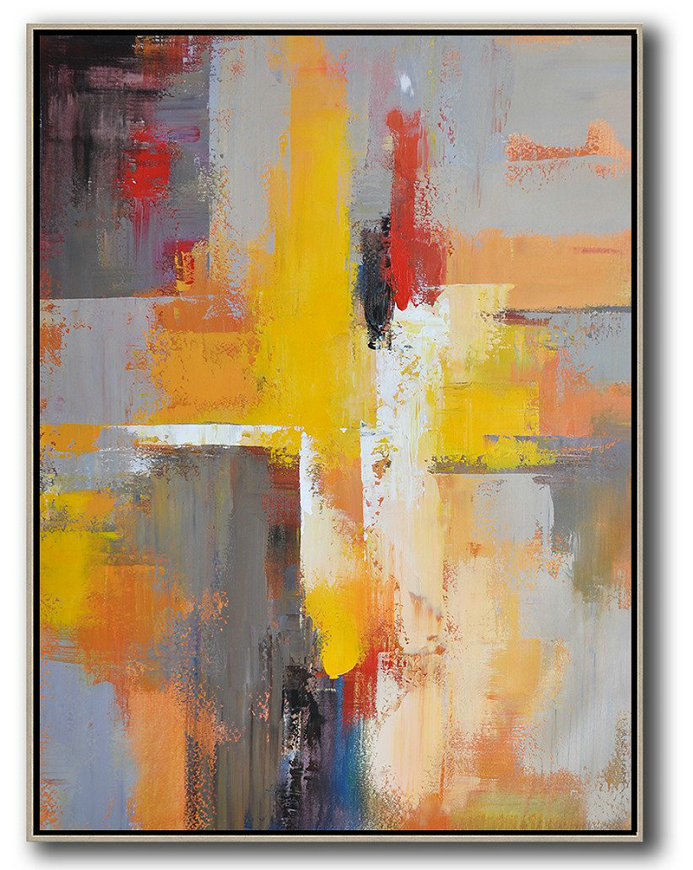 Vertical Palette Knife Contemporary Art,Textured Painting Canvas Art,Yellow,Red,White,Violet Ash