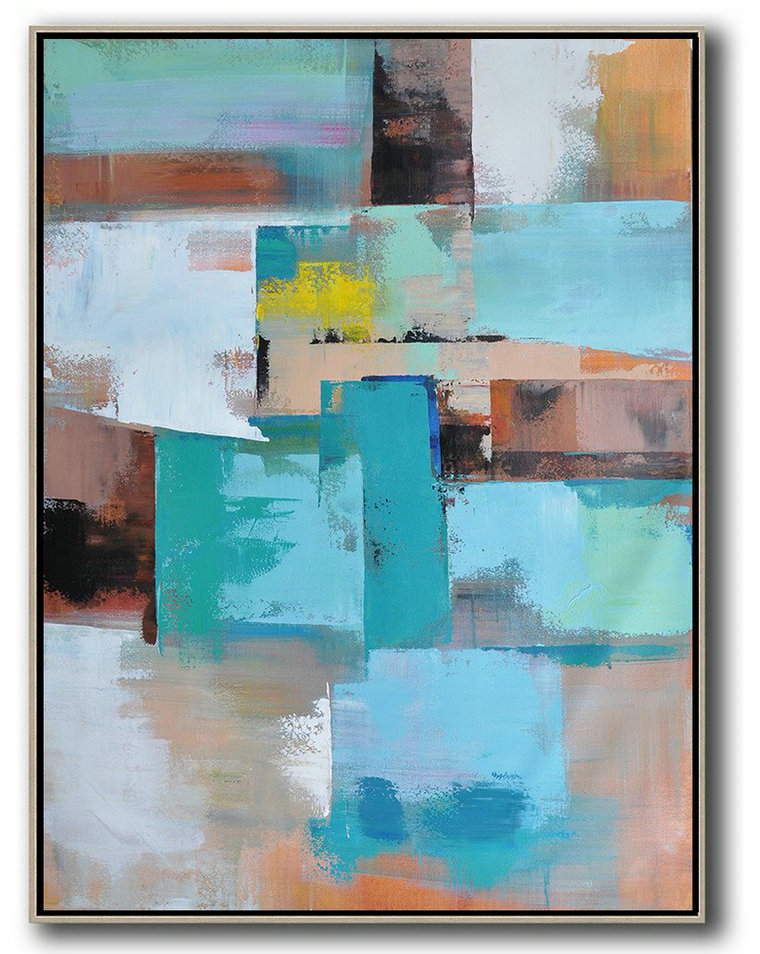 Vertical Palette Knife Contemporary Art,Modern Wall Decor,Green,Blue,Brown,Beige,Yellow