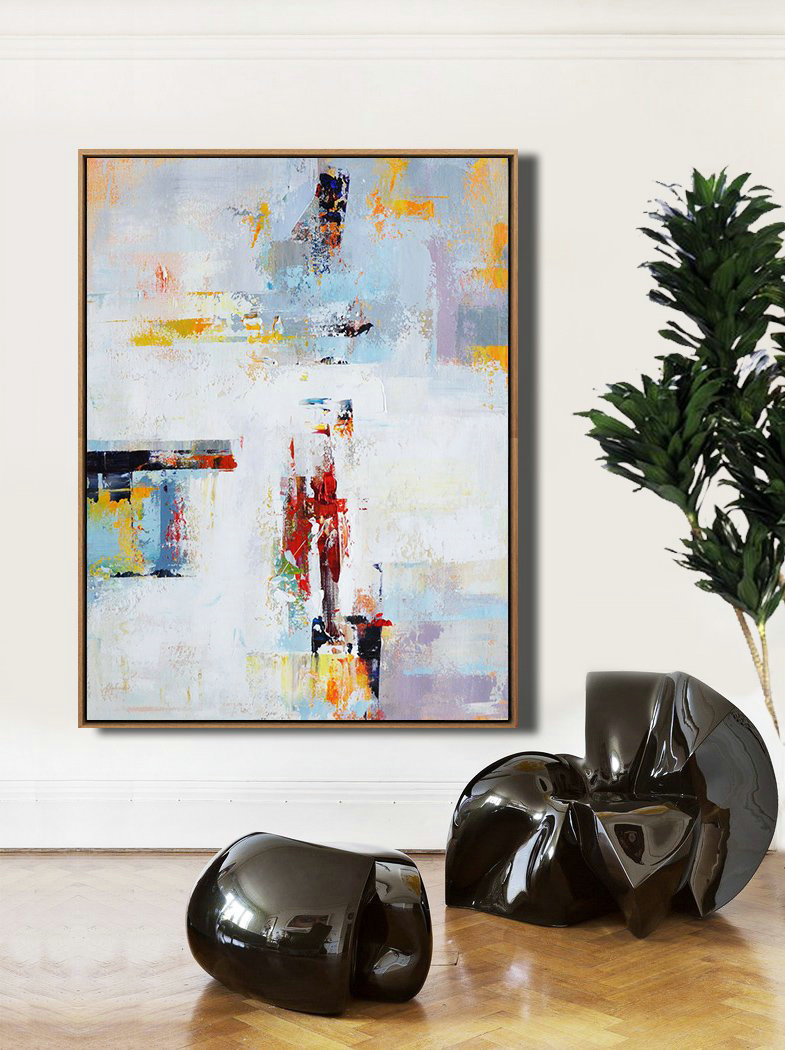 Vertical Palette Knife Contemporary Art,Oversized Canvas Art,White,Grey,Red,Yellow