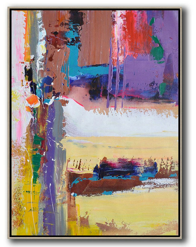 Vertical Palette Knife Contemporary Art,Large Living Room Wall Decor,Purle,Yellow,White,Brown,Red,Blue