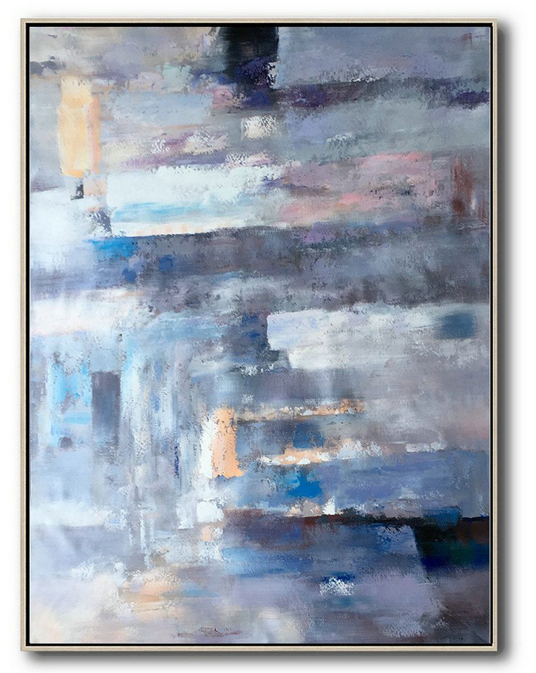 Vertical Palette Knife Contemporary Art,Size Extra Large Abstract Art,Violet Ash,Grey,Blue,Pink
