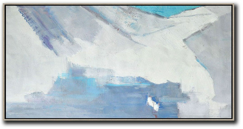 Horizontal Palette Knife Contemporary Art,Large Canvas Wall Art For Sale,White,Grey,Blue