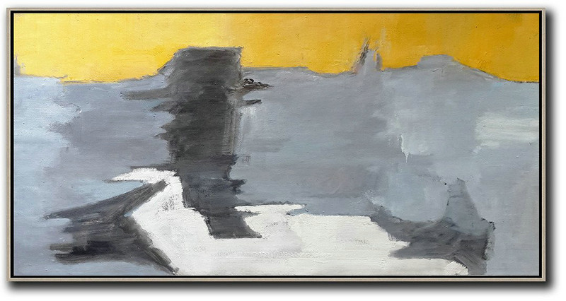 Horizontal Palette Knife Contemporary Art,Huge Canvas Art On Canvas,Yellow,Black,Grey,White