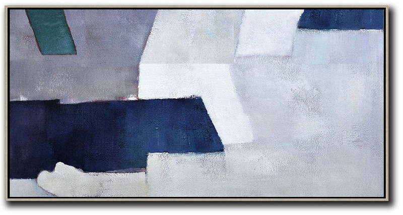 Horizontal Palette Knife Contemporary Art,Modern Paintings On Canvas,White,Grey,Dark Blue