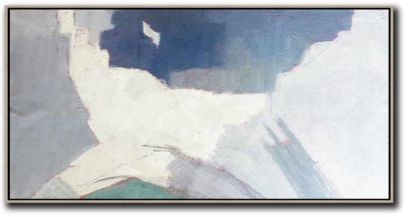 Horizontal Palette Knife Contemporary Art,Large Paintings For Living Room,Grey,Lake Blue,White