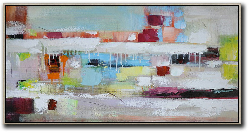 Horizontal Palette Knife Contemporary Art,Abstract Painting On Canvas,White,Red,Yellow,Blue,Brown