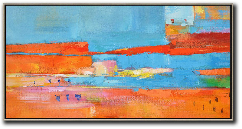 Horizontal Palette Knife Contemporary Art,Large Canvas Art,Orange,Sky Blue,,Red,Yellow