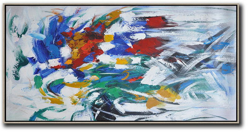 Horizontal Palette Knife Contemporary Art,Acrylic Minimailist Painting,White,Yellow,Red,Grey,Green