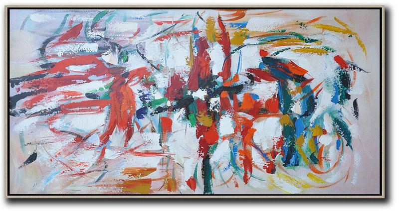 Horizontal Palette Knife Contemporary Art,Original Art,Red,White,Yellow,Blue,Black