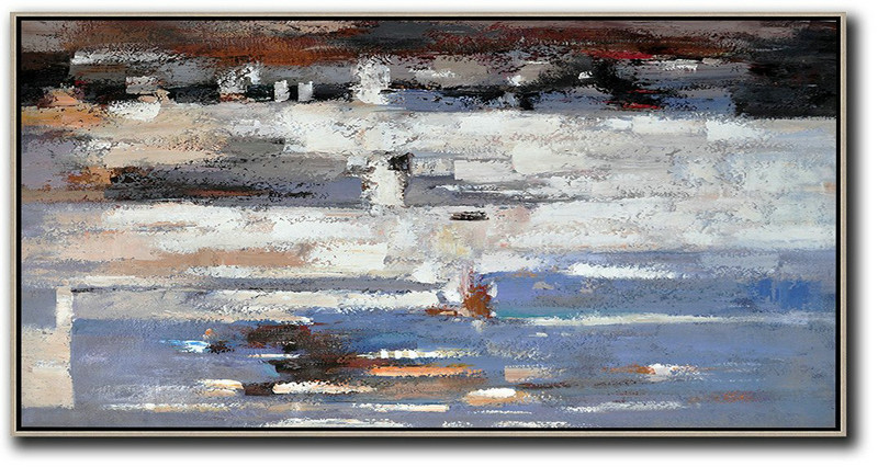 Horizontal Palette Knife Contemporary Art,Contemporary Art Canvas Painting,White,Grey,Purple Grey,Blue,Brown