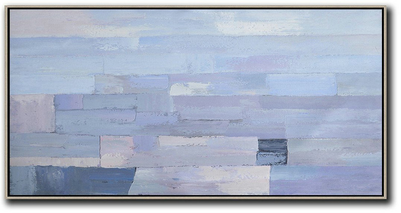 Horizontal Palette Knife Contemporary Art,Artwork For Sale,Purple,Grey,White