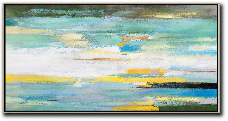 Horizontal Palette Knife Contemporary Art,Abstract Oil Painting,White,Yellow,Blue,Light Green,Black