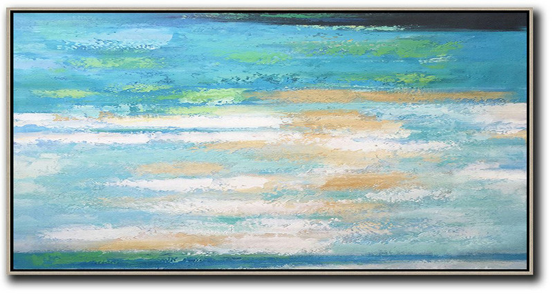 Horizontal Palette Knife Contemporary Art,Modern Paintings,Lake Blue,White,Yellow