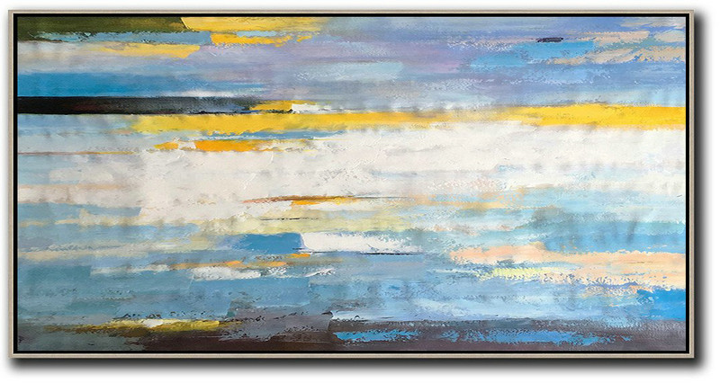 Horizontal Palette Knife Contemporary Art,Canvas Wall Art,White,Yellow,Blue,Black