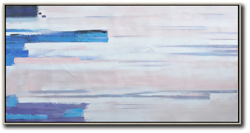 Horizontal Palette Knife Contemporary Art,Large Living Room Wall Decor,Pink,White,Blue, Purple
