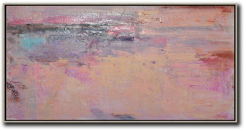 Horizontal Palette Knife Contemporary Art,Contemporary Art Acrylic Painting,Light Yellow,Purple,Pink,Brown