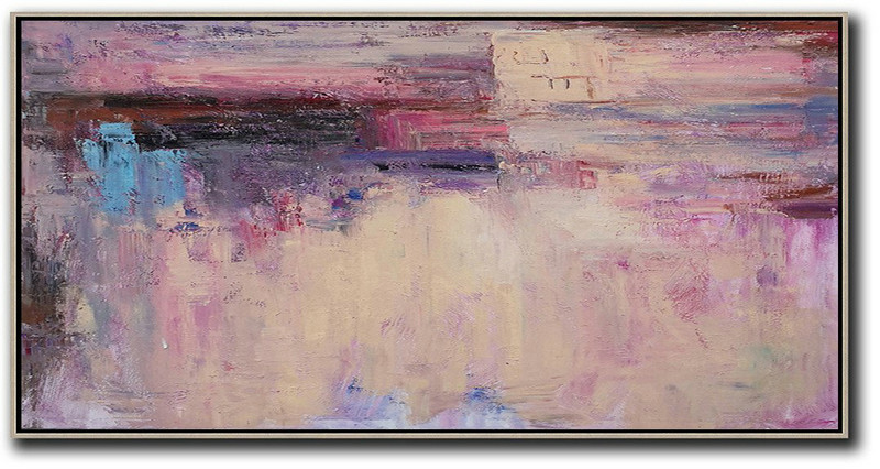 Horizontal Palette Knife Contemporary Art,Acrylic Painting On Canvas,Light Yellow,Purple,Pink,Brown