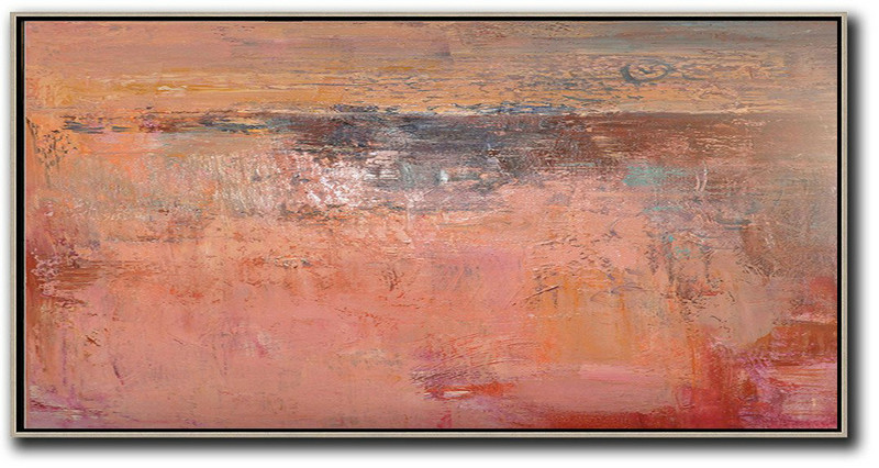 Horizontal Palette Knife Contemporary Art,Large Abstract Wall Art,Pink,Earthy Yellow,Brown,Red