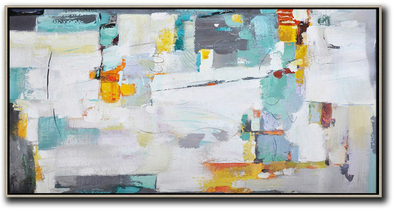 Horizontal Palette Knife Contemporary Art,Giant Canvas Wall Art,White,Grey,Yellow