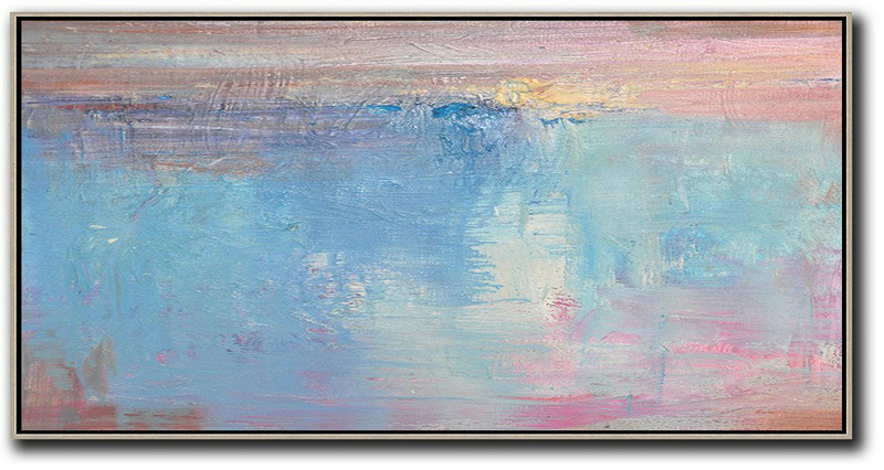 Horizontal Palette Knife Contemporary Art,Canvas Paintings For Sale,Pink,Sky Blue,Purple