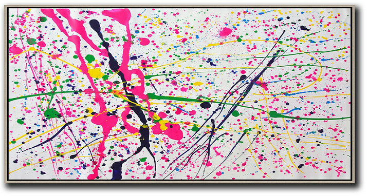 Horizontal Palette Knife Contemporary Art,Original Art,White,Red,Yellow,Green