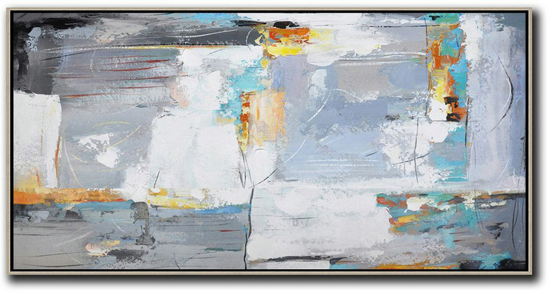Horizontal Palette Knife Contemporary Art,Extra Large Artwork,White,Grey,Yellow
