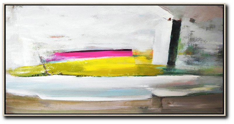 Horizontal Palette Knife Contemporary Art Panoramic Canvas Painting,Large Contemporary Painting,White,Brown,Yellow,Pink