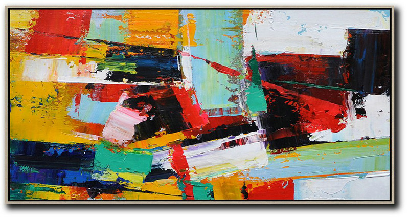 Horizontal Palette Knife Contemporary Art Panoramic Canvas Painting,Large Wall Art Home Decor,White,Yellow,Red,Black