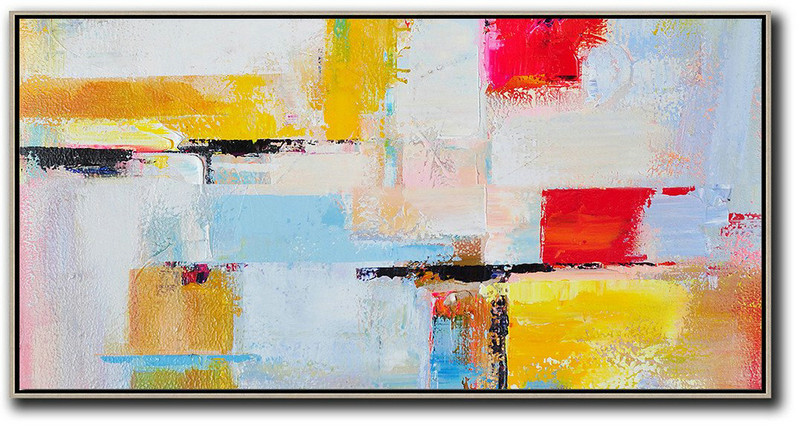 Horizontal Palette Knife Contemporary Art Panoramic Canvas Painting,Huge Abstract Canvas Art,White,Blue,Yellow,Red
