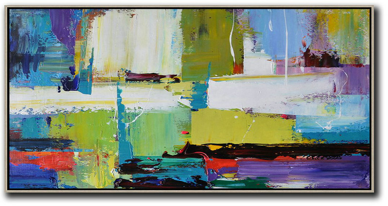 Horizontal Palette Knife Contemporary Art Canvas Painting,Large Colorful Wall Art,Light Green,Purple,Grey,Yellow