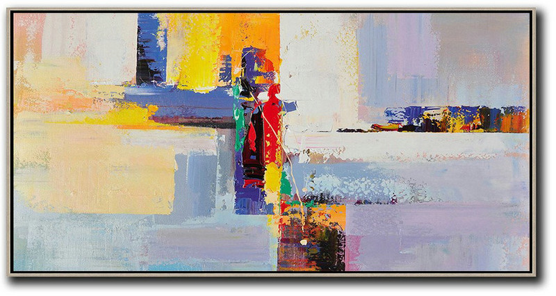 Horizontal Palette Knife Contemporary Art Panoramic Canvas Painting,Hand Painted Original Art,White,Yellow,Purple,Red